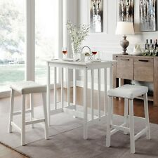 3 Piece Dinette Kitchen Table Chairs Stools Dining Set Pub Counter Height Bar