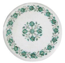"""12"""" Malachite Semi Precious Stones Marble End Side Table Top Home decorative"""