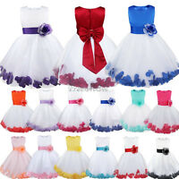 Petals Flower Girl Kid Sleeveless Wedding Formal Bridesmaid Party Princess Dress