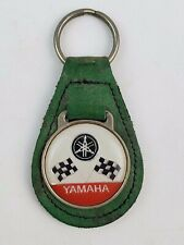 Vintage Yamaha Green leather Keychain Checkered Flags Logo motorcycles FOB