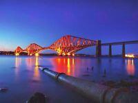 Photograph Landmark Forth Bridge Edinburgh Scotland Night Canvas Art Print