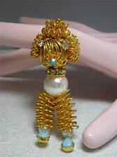 Vintage Wire Work Figural Dog Pin Brooch & Pendant in One~Faux Pearl Turquoise