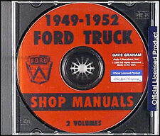 Ford Pickup and Truck CD Shop Manual 1949 1950 1951 1952 Repair Service F1-F8