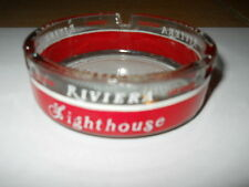 Vintage Las Vegas Riviera Casino Hotel Round Glass Ashtray Clear & Red