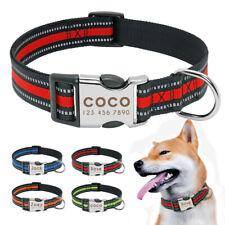 Collar reflectante de perro personalizado nailon Nombre telefono Grabado S M L