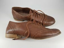 Primark size 7 (40/41) wide fit tan brown faux leather brogues lace up loafers