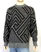 vtg 80s Le Tigre Gray Men's Geometric Pattern Crew Cosby Sweater sz L tall
