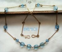 VINTAGE CZECH  ART DECO BABY BLUE GLASS CRYSTAL BEAD ROLLED GOLD NECKLACE BRIDAL