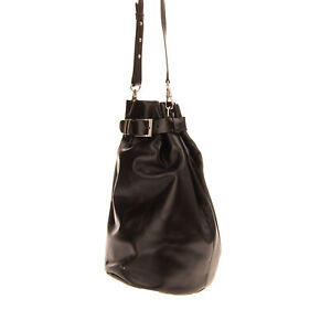 RRP€400 IRO Leather Bucket Bag Backpack Large Single Strap Pin Buckle Drawstring