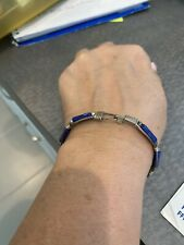 Vintage Blue Stone Silver Bracelet Euc