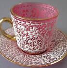 Antique MOSER Bohemian PINK Cranberry Demitasse Cup + Saucer White ENAMEL LACE