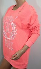 Victoria's Secret PINK Fleece Crew Sweater Oversize Sz XSmall Color Orange NWT