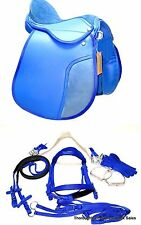 """D.A. Brand 12"""" Blue Synthetic 6 Piece English Saddle Set  Horse Tack Equine"""