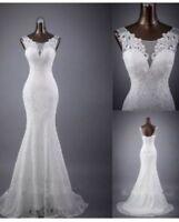 UK Simple white/ivory sleeveless mermaid lace Cheap wedding dresses size 6 - 18