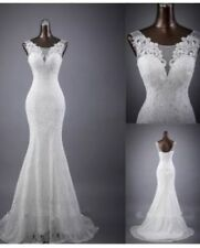 UK Simple white/ivory sleeveless mermaid lace Cheap wedding dresses size 6 - 18
