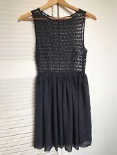 American Apparel BLACK LACE SEXY SHEER Sleeveless PARTY DRESS Chiffon Skirt M