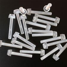 20 x tornillos de mariposa de plástico acrílico, estriados y con ranura, M6x40mm