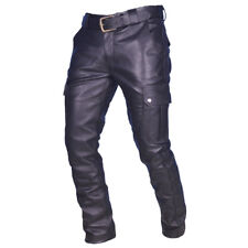 Men's Real Cowhide Leather Cargo Pants Bikers Pants With Cargo Pockets