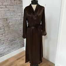 Vintage 30's Women's Brown Satin Dress Long Sleeve Matching Cape Macrame Conmar