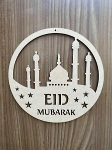 Eid Mubarak Ramadan Kareem Hoop Sign Wall Plaque Wood MDF Decor