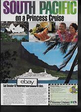 "PRINCESS CRUISES TO SOUTH PACIFIC 1976 ""PACIFIC PRINCESS"" TAHITI-AUSTRALIA AD"