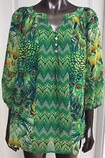 Fig And Flower Anthropologie Women's 1X Tunic Top Peacock Green Multi Boho