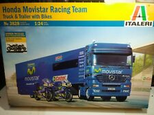 HONDA MOVISTAR RACING TEAM + TRUCK & TRAILER WITH BIKES ITALERI 1/24