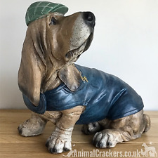 More details for basset hound in blue coat cap monocle ornament figurine novelty hound lover gift