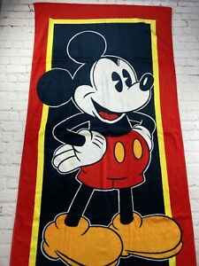 Vintage 80s 90s Disney Mickey Mouse Franco Beach Towel Red NWOT