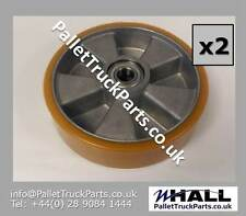 x2no. 200/50mm Orange PU/steel hand pallet/ pump truck steer wheel (inc. bearing