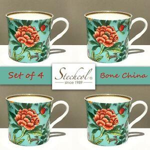 SET OF 4 New STECHCOL Gracie Bone China 12 OZ Mugs Turquois Floral Royal Rim