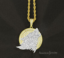 "Mens Lab Diamond 925 Sterling Silver Gold Finish Roaring Wolf Pendant 24"" Chain"