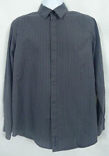 Ben Sherman Shirt Men's L Black Gray Striped Long Sleeve Cotton Button Front