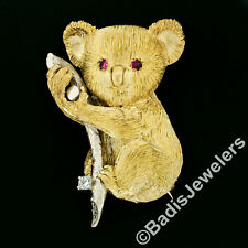Vintage Textured Two Tone 18k Gold Koala Brooch Pin w/ Ruby Eyes Diamond Accent