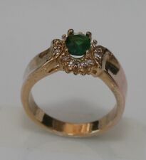 Gold Plated Beautiful Large Emerald Col Gemstone & Cubic Ziconia Ring Size P