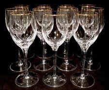 """Set of 11 Rogaska Cut Crystal Gold Rim Wine Glasses /Goblets 7-7/8"""" Vintage"""