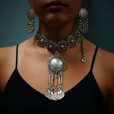 Cool Boho Ethnic Tribal Coin Choker Necklace Free People Style Coachella Jewelry