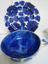 POTTERY TEACUP AND PLATE - BLUE AND WHITE