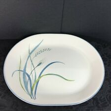 "Corning Corelle 12"" Oval Serving Platter Coastal Breeze Blue Green Wheat A+"