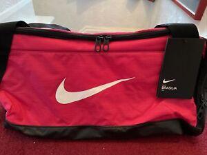 Nike Brasilia Training Duffel Bag Gym Sports Holdall Football Kit New Pink 40L