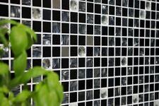 Mosaik Fliese selbstklebend quadratisch Glas/Edelstahl mix schwarz   200-4CM26
