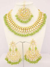 Kundan Indian Choker Jewelry Ethnic Necklace Earring Tika Light Green Bridal Set