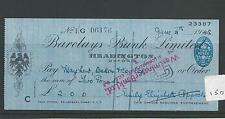 wbc. - CHEQUE - CH150 - USED -1940s - BARCLAYS BANK, HEADINGTON OXFORD lge forma