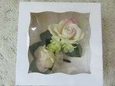 blush/ivory Wrist Corsage & Boutonniere Set, Roses for prom, wedding, gift box