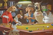 Home Art Wall Dogs Playing Pool Game Oil Painting Picture Printed On Canvas III