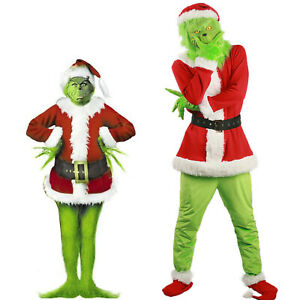 Adult The Grinch Costume Xmas Cosplay Men Christmas Santa Fancy Dress Full Set