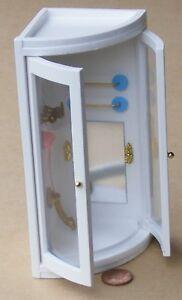 Wooden Corner White Shower Unit Tumdee 1:12 Scale Dolls House Miniature 1172