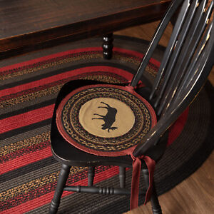 VHC Brands Rustic 15 in Moose Chair Pad Set of 6 Tan Jute Kitchen Table Decor