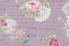 Cottage Shabby Chic Quilt Gate RURU Bouquet Cotton Fabric RU22007-14D Purple BTY