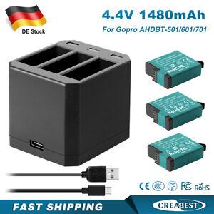 3Pcs AHDBT-501 Akku & 3-Channel Ladegerät Für AHDBT501 GoPro Hero 8/7/6/5 Black